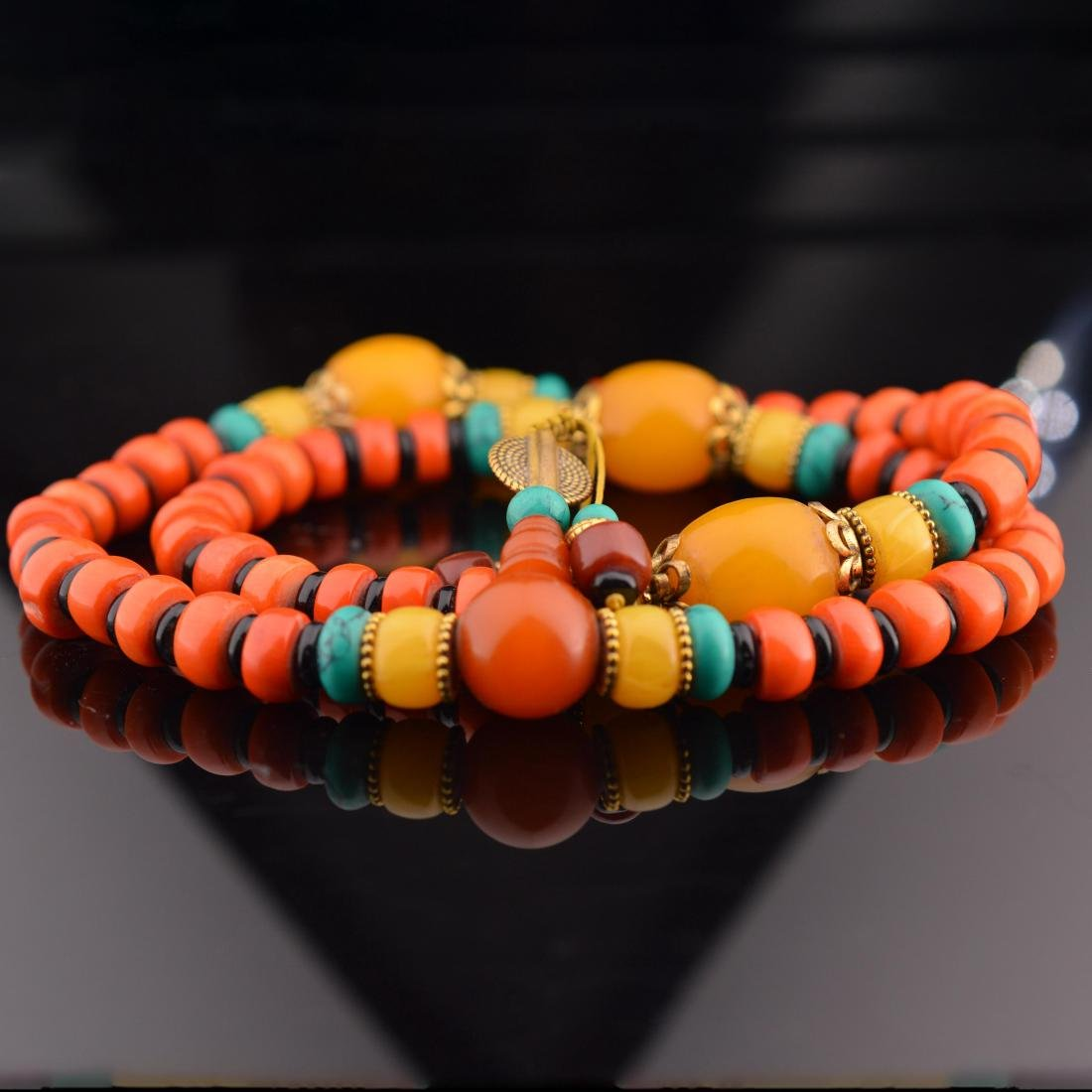 Coral Abacus Bead Necklace