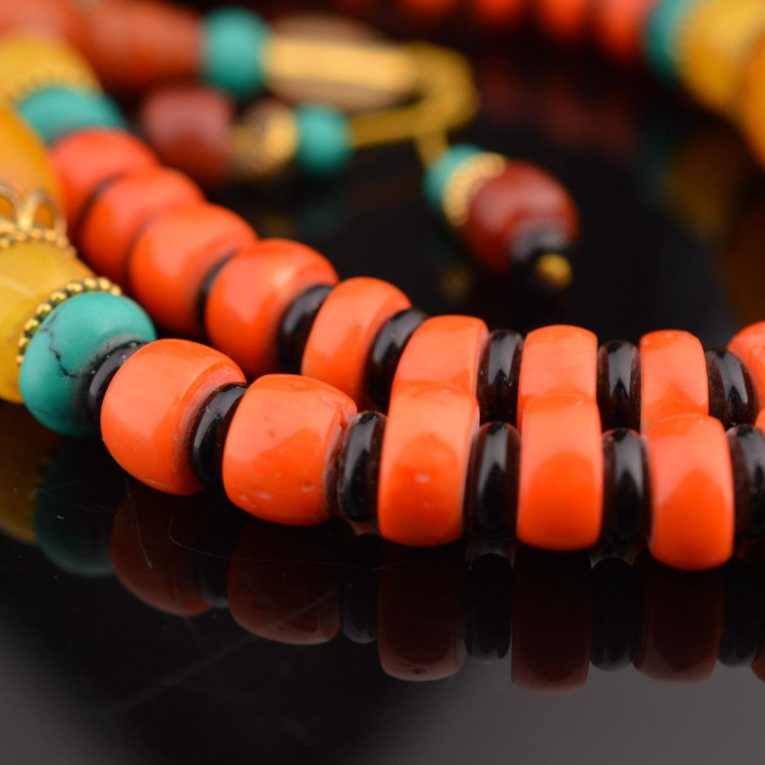 Coral Abacus Bead Necklace - 2