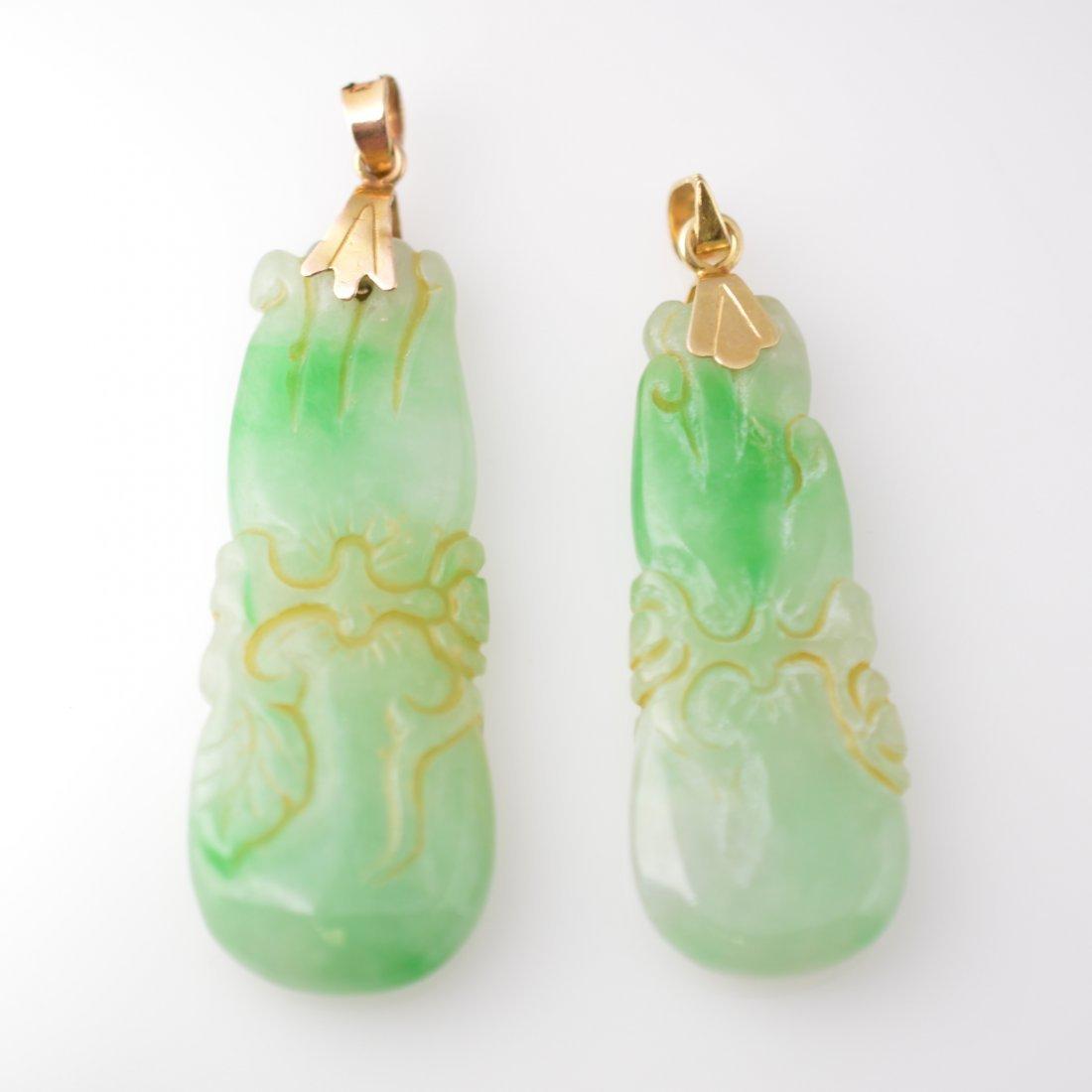 2 Jadeite Carved Fou-Shou 18k Gold Pendants