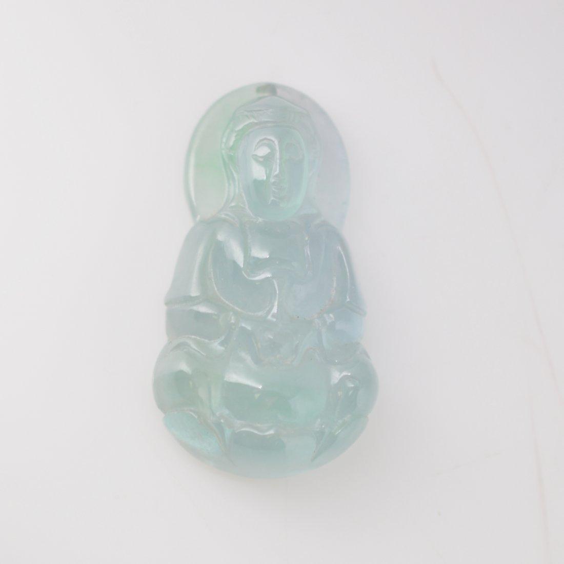 Jadeite Carved Guanyin Pendant