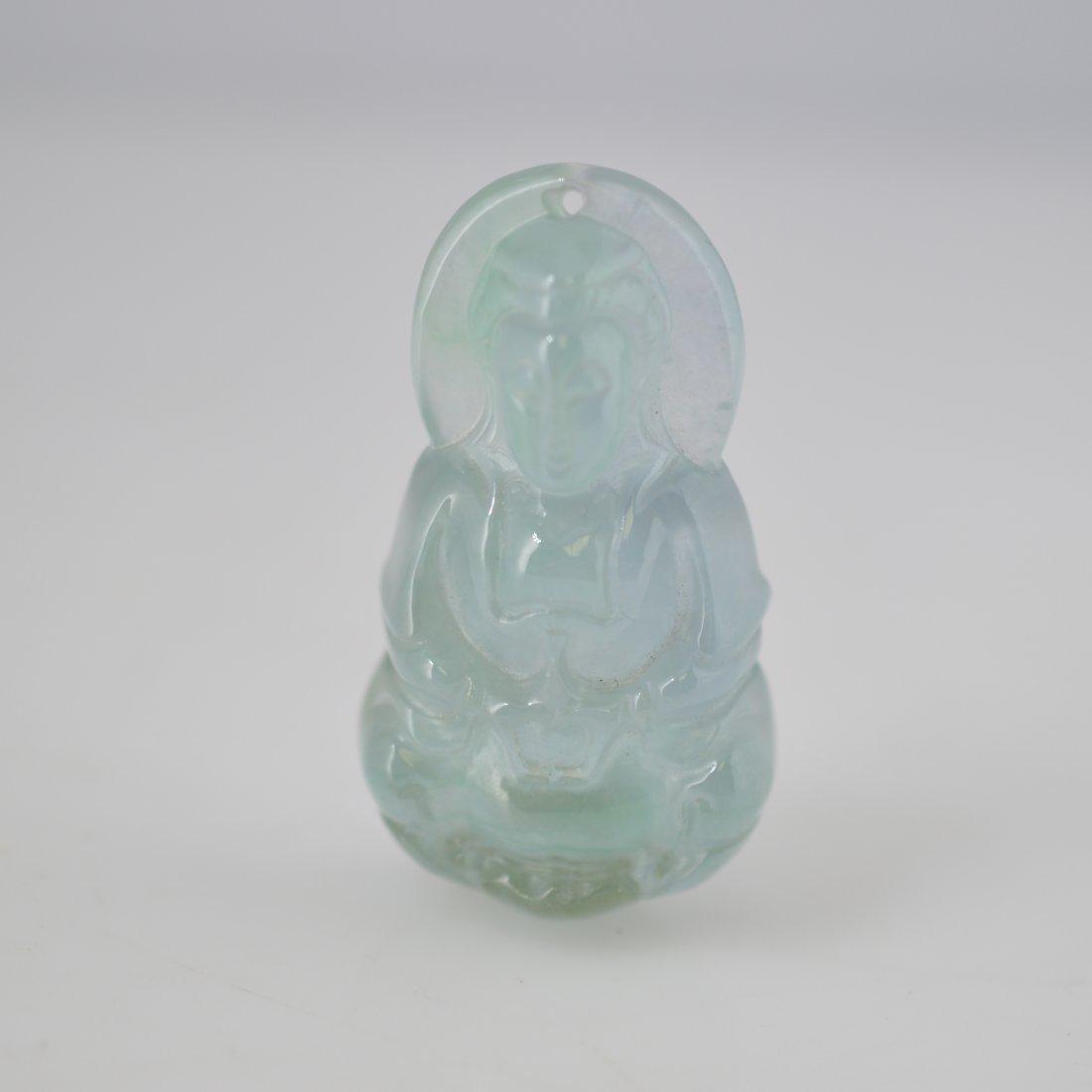 Jadeite Carved Guanyin Pendant - 2