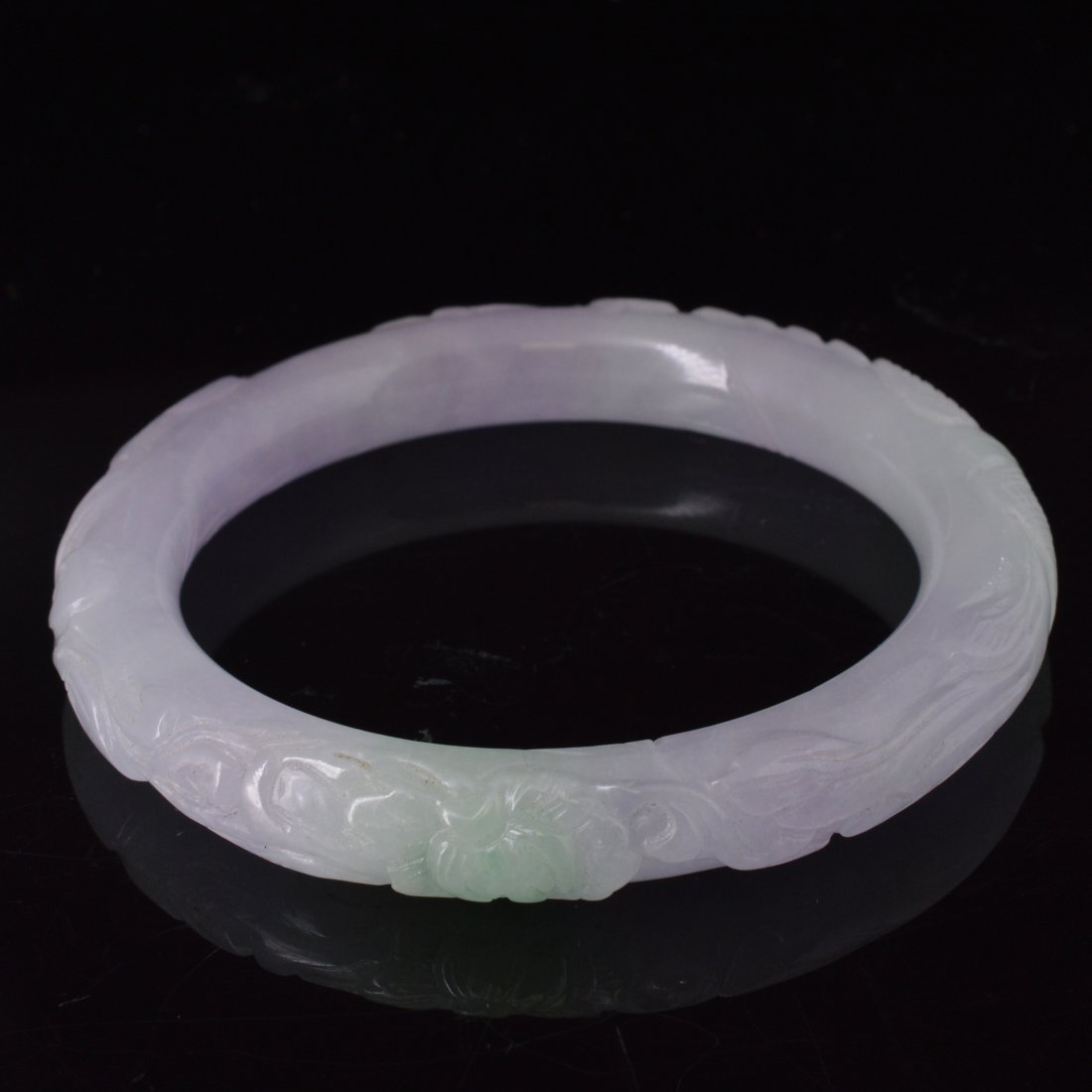 Icy Jadeite Carved Bangle