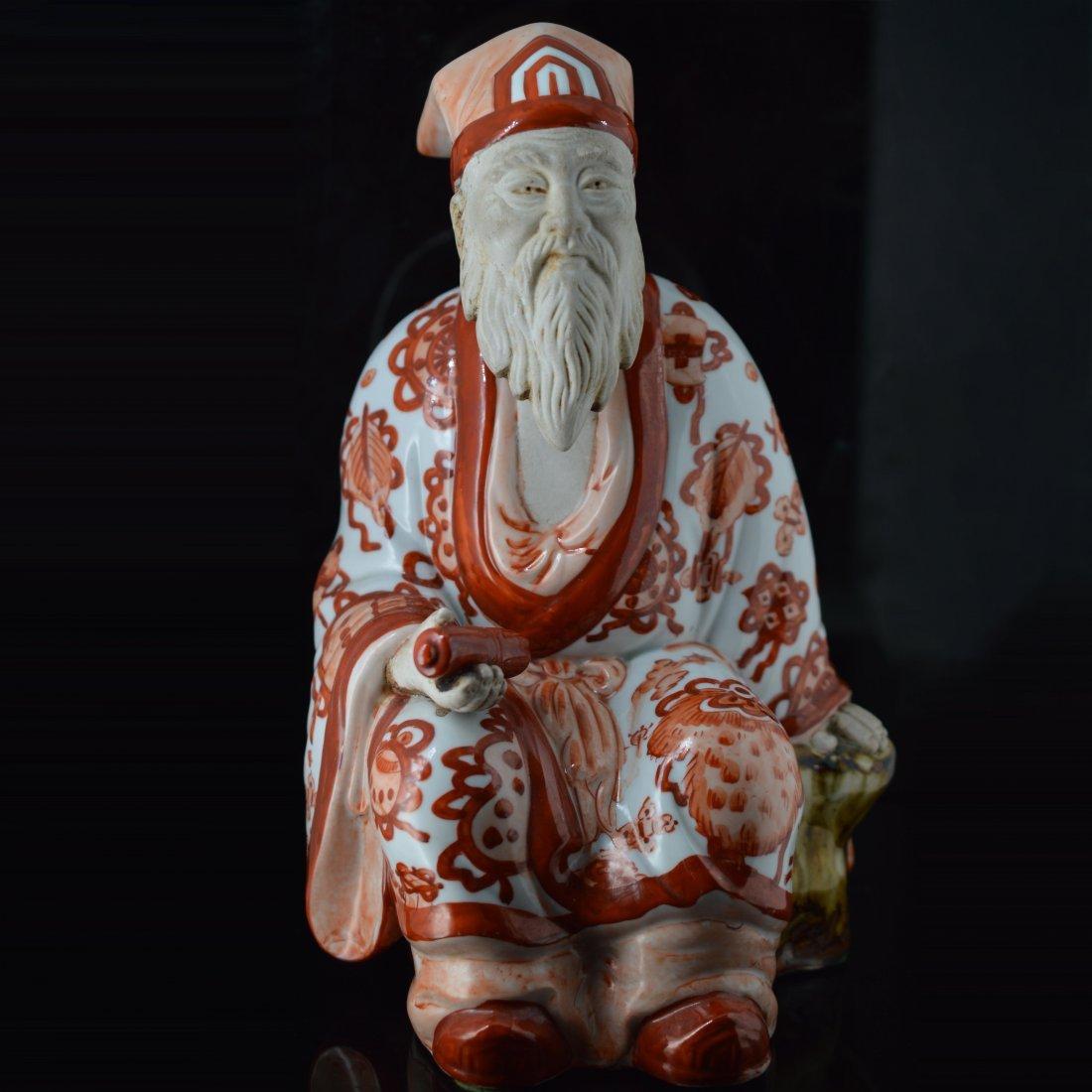 Red Glazed Japanese Porcelain Figure Ornament
