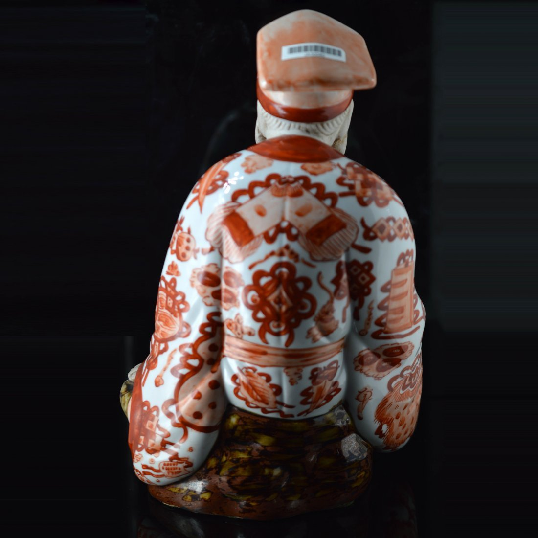 Red Glazed Japanese Porcelain Figure Ornament - 3