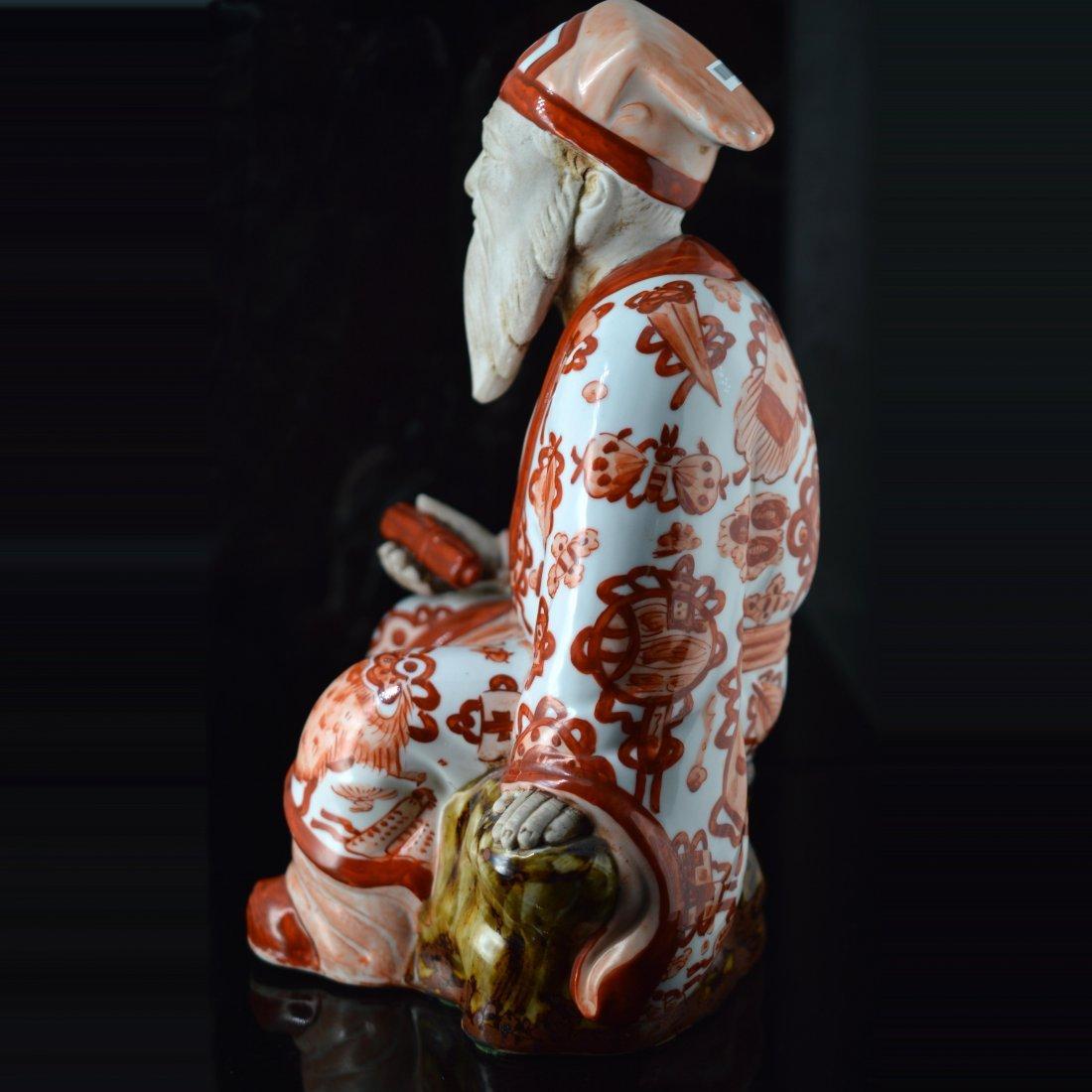 Red Glazed Japanese Porcelain Figure Ornament - 4