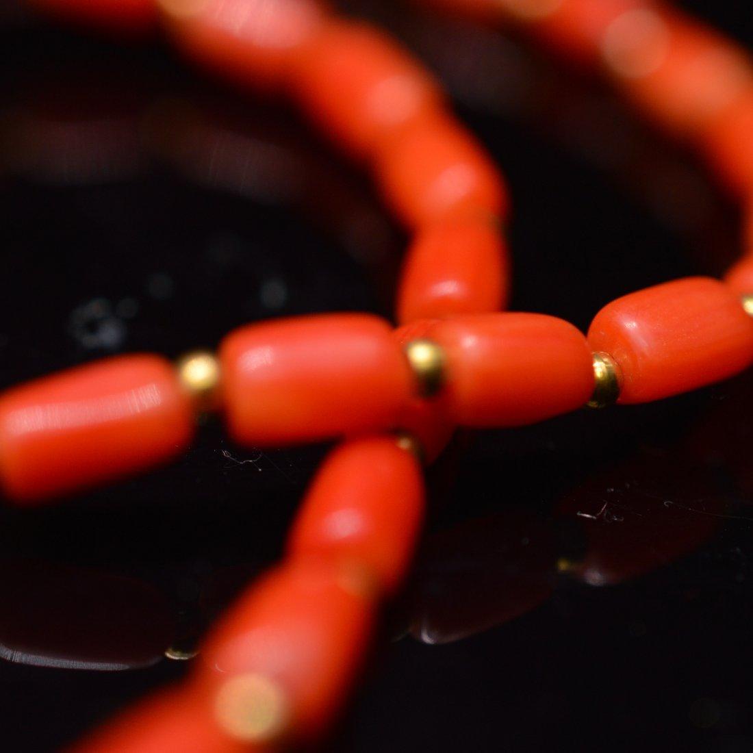 Three-Eyed Dzi Bead Necklace + Coral Necklace - 2