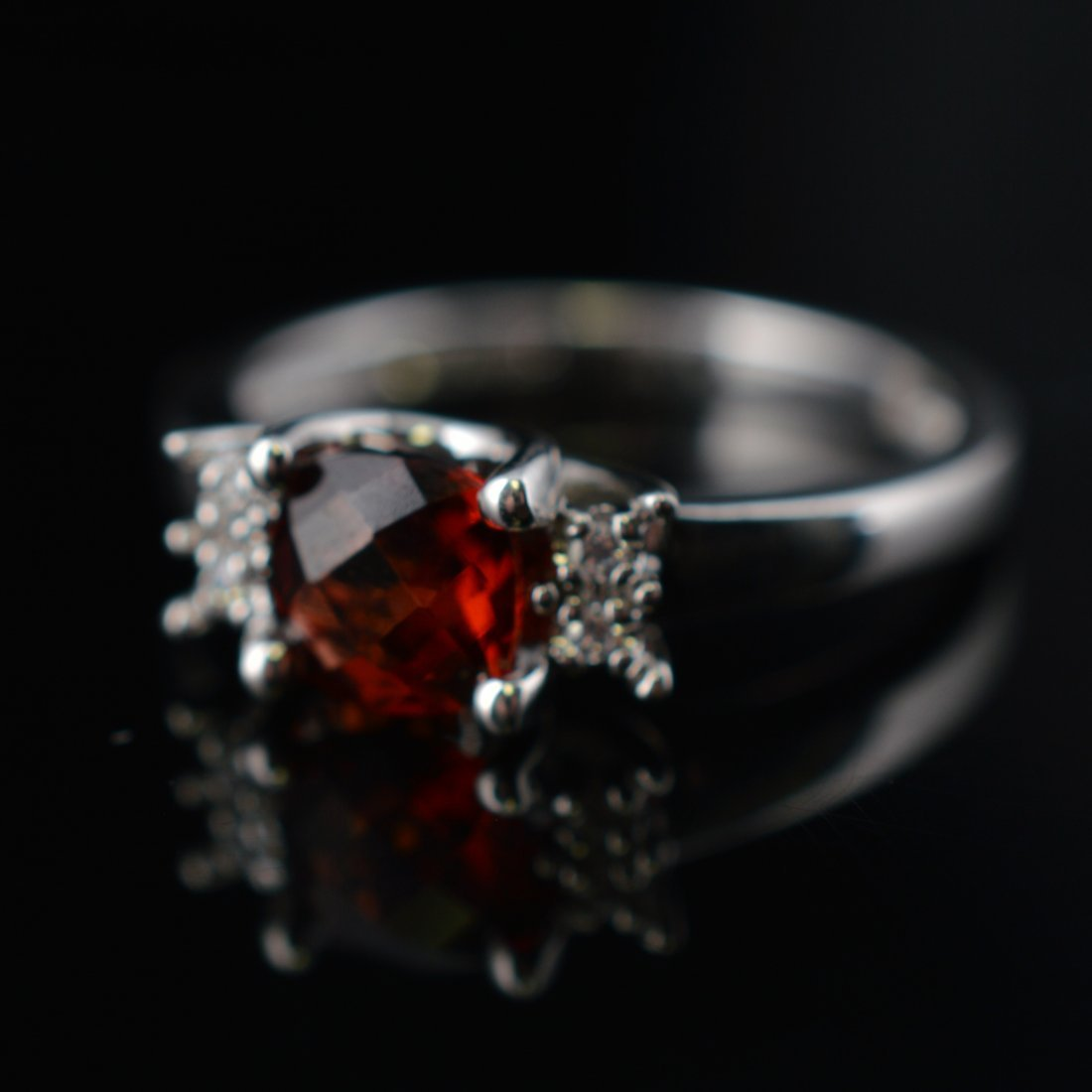 Garnet 14k White Gold Ring