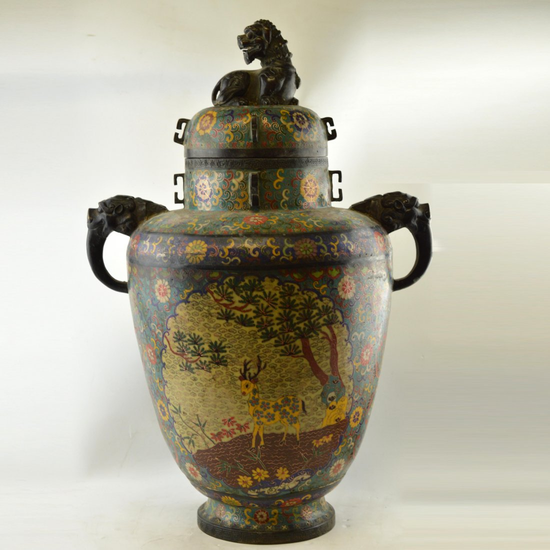 Large 19th Century Chinese Cloisonne Enamel Copper Vase