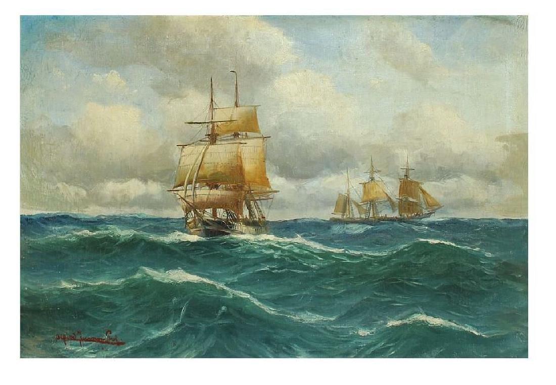 DIPINTO (-)  Alfred Jensen olio raff.marina