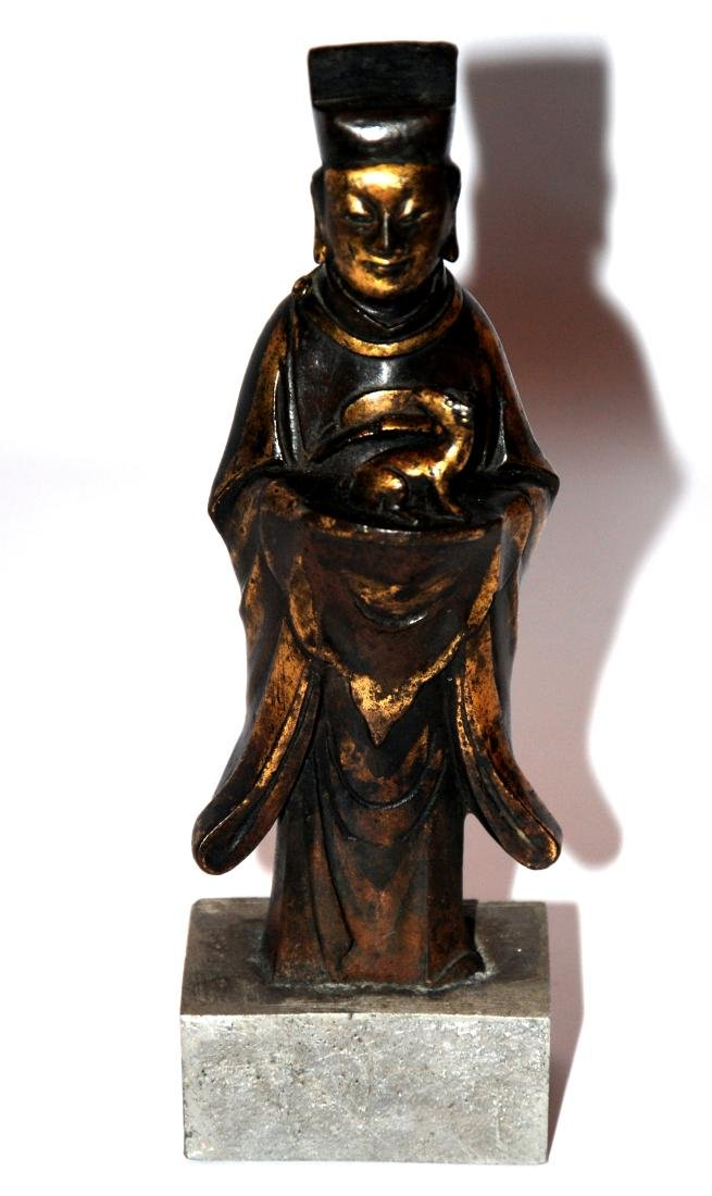 Cina scultura in bronzo dorato cm.x h. 16