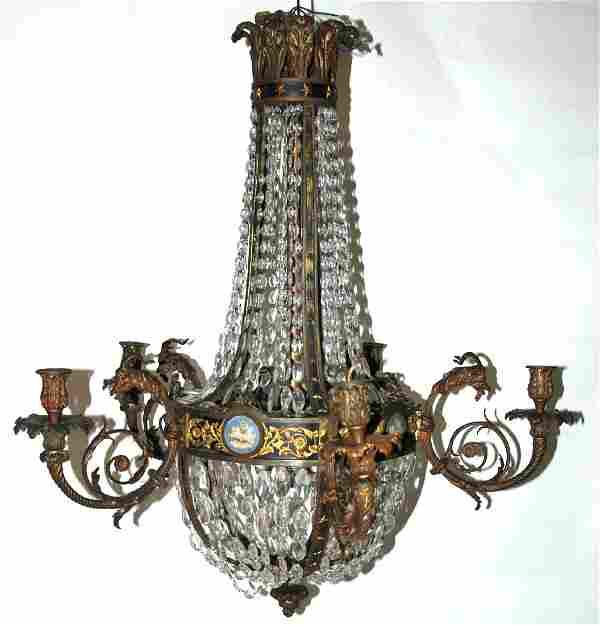 lampadario in bronzo dorato e patinato con
