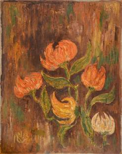 """""""Flowers"""" Signed by Unidentified Artist"""