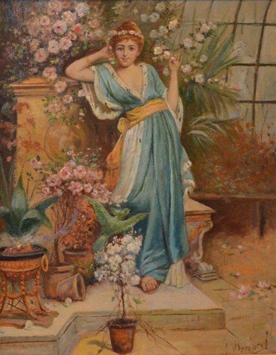 "Joseph BERNARD (FRENCH) ""Lady among the flowers"""