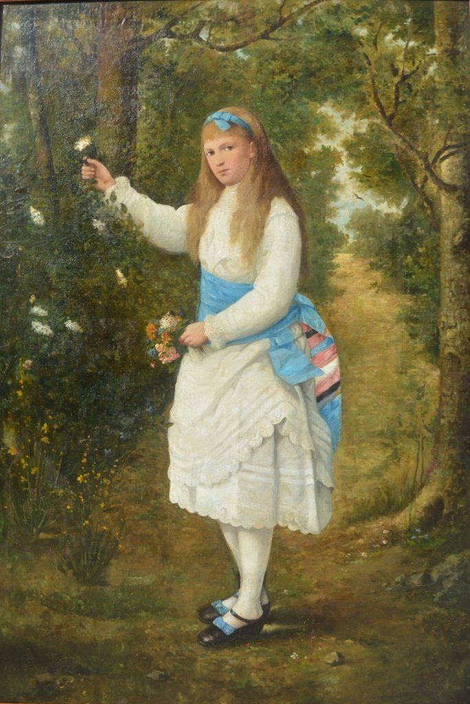 """Unknown Artist (XIX) """"Girl in the forest"""""""