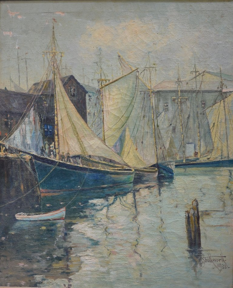 """Frederick W. SOUTHWORTH """"Seascape with boats"""""""