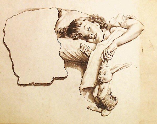 3: Illus. Child Sleeping Charcoal  Edmund Franklin Ward