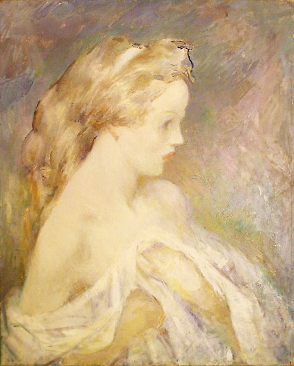 17: Young Girl Painting by Edmund Franklin Ward