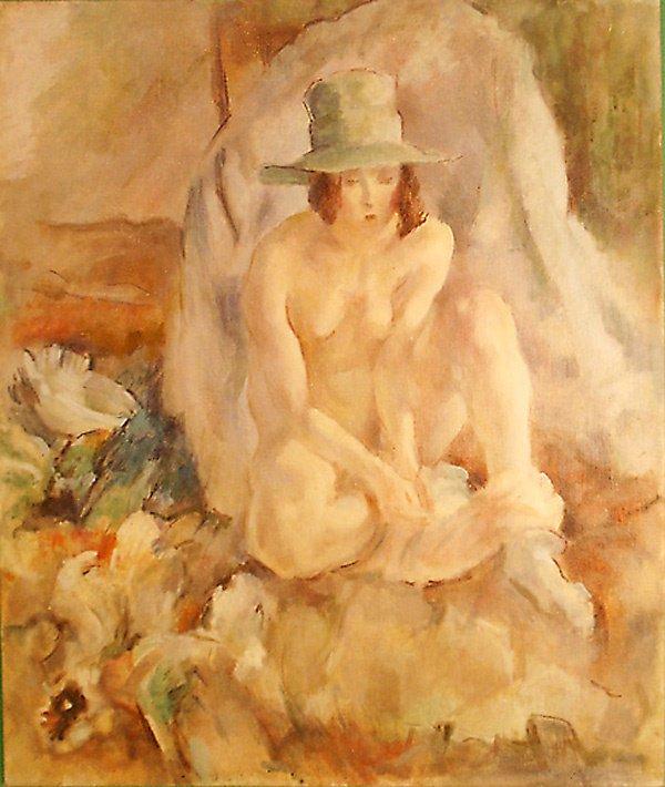 19: Nude w Hat After Pascin Ptg.  Edmund F. Ward