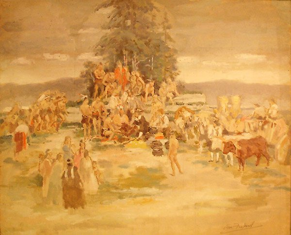 22: Study  Indians & Pilgrims Ptg  Edmund Franklin Ward