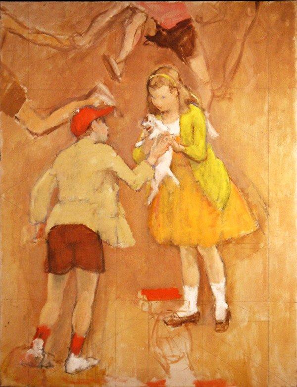 45: Boy and Girl w Puppy Ptg  Edmund Franklin Ward