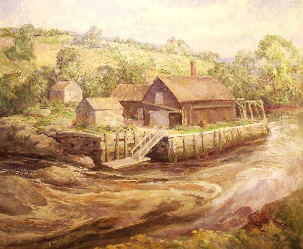 53: Waldoboro Dock Painting by Edmund Franklin Ward