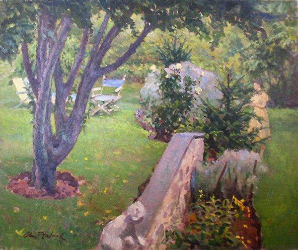152: Backyard in Summer Painting  Edmund Franklin Ward