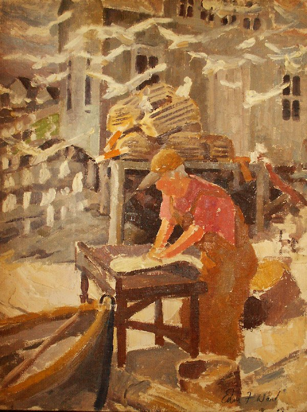 190: Monhegan Fisherman Painting Edmund Franklin Ward