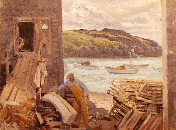 191: Monhegan Lobsterman Painting  Edmund Franklin Ward