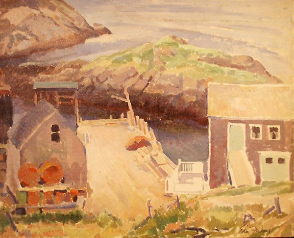 199: Monhegan Ferry Dock Painting  Edmund Franklin Ward