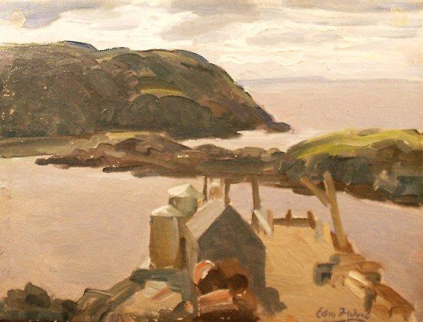 255: Monhegan Dock Painting  Edmund Franklin  Ward
