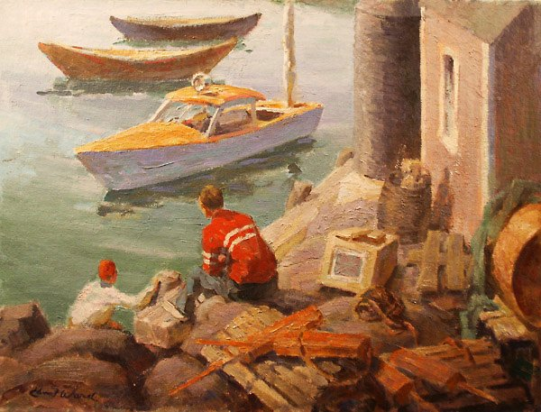 259: Dockside Monhegan Painting  Edmund Franklin  Ward