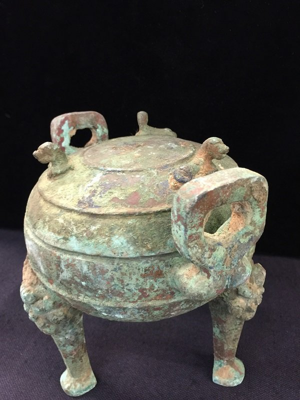 Antique Bronze Tripod Lidded Vessel