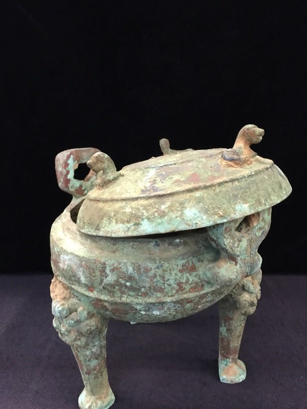Antique Bronze Tripod Lidded Vessel - 2