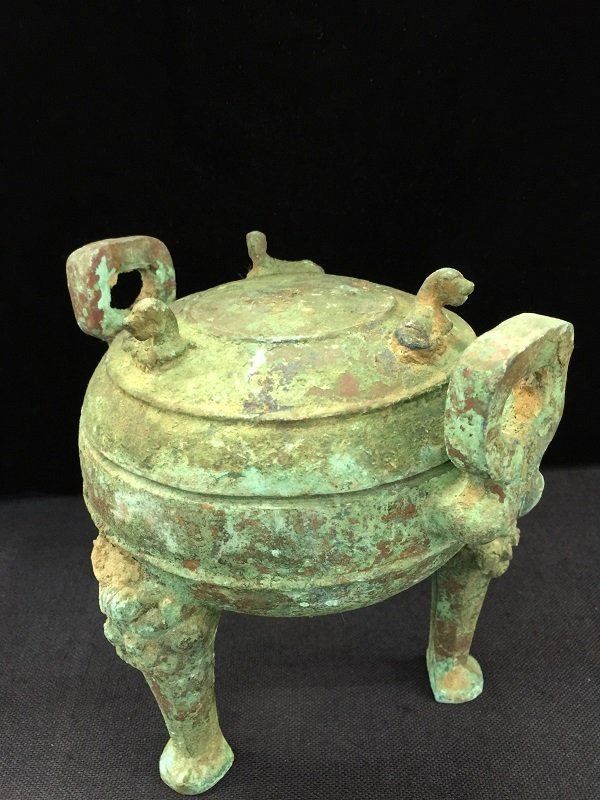 Antique Bronze Tripod Lidded Vessel - 4