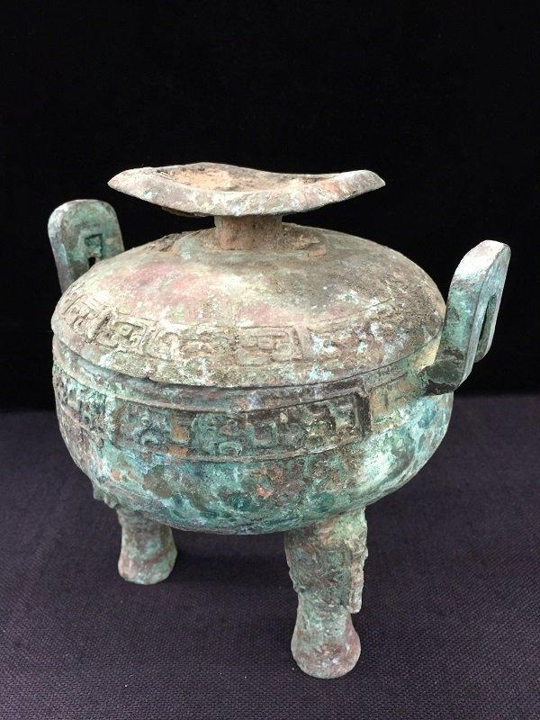 Antique Finely Bronze Tripod Lidded Vessel