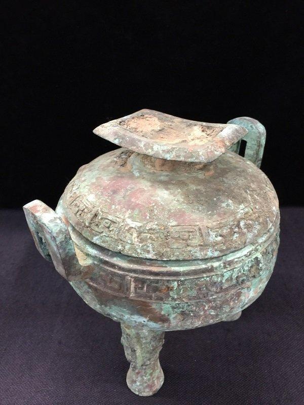Antique Finely Bronze Tripod Lidded Vessel - 2