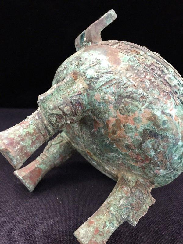 Antique Finely Bronze Tripod Lidded Vessel - 3