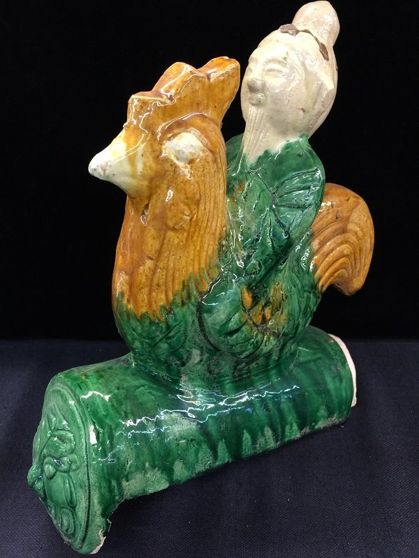 A Nicely Carved San Cai Roof Tile With Rooster