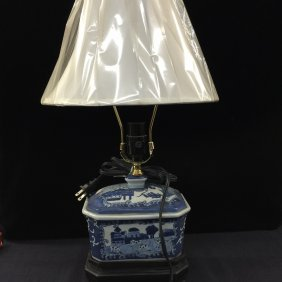 Antique Blue And White Porcelain Lidded Box Lamp
