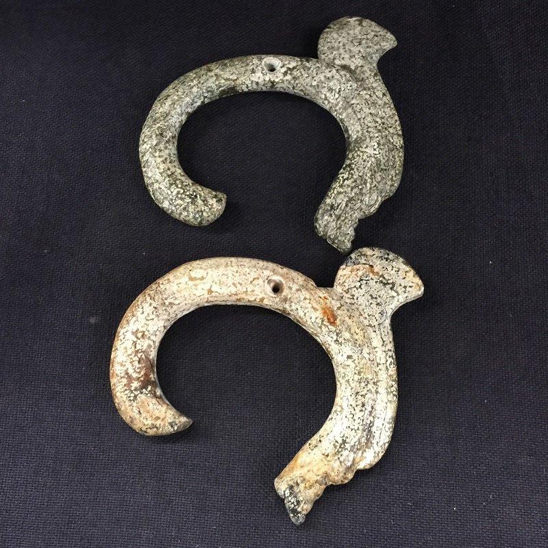 Archaic Pair Of Jade Dragon Pendants - 4