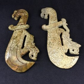Archaic Pair Of Jade Dragon And Knifes