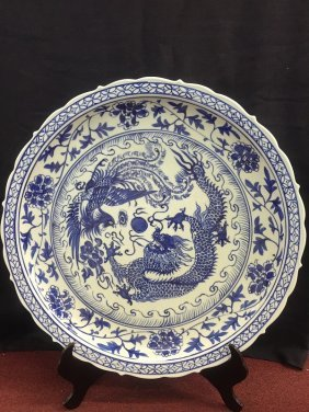 Beautiful Antique Blue And White Porcelain Charger