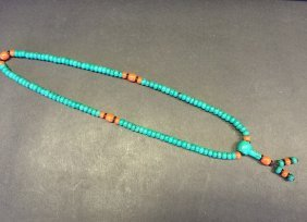 Antique Turquoise Bead Necklace Mixed Coral