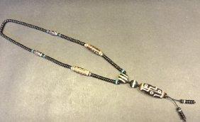 Antique 9 Eyes Tibetan Dzi Pendant Necklace