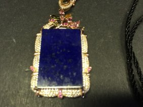 A Nicely Carved Silver Pendant Inlaid Lazurite