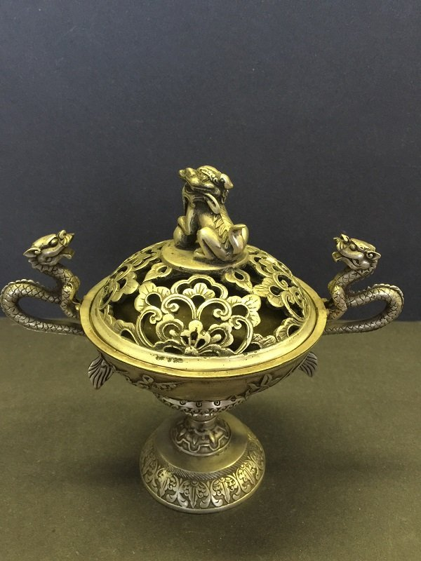 A Finely Carved Bronze Dragon Censer With Lidded