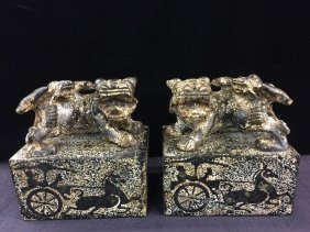 Archaic Nicely Carved Pair Of Jade Stone Seals