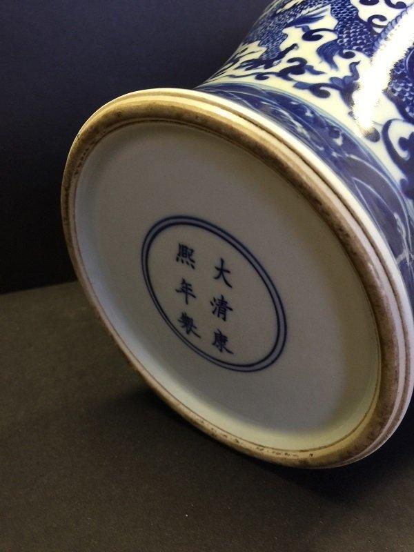 Kangxi Mark Blue& White Porcelain Meiping Vase - 6
