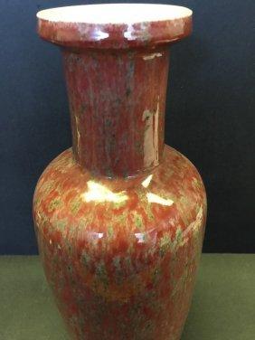 Chinese Glazed Ox-Blood Porcelain Vase With Crack Line