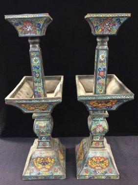 Nicely Antique Pair Cloisonne Candle Holders